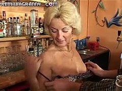 Hardcore, Grandmother, Orgasm, Mature, Blonde, Blowjob, Bar, Young, Granny, Desk, Old