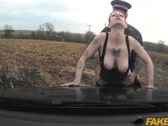 Cumshot, Monster cock, Big cock, Police, Oral, Cock, Couple, Sex, Vagina, Tattoo, Blowjob, Outdoor, Cum, Caucasian, Car, High definition, Tits, Big tits, Redhead