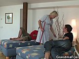 Grandmother, Group, Mature, Old woman, Cleaning lady, Granny, Young, Old, High definition, Cock, Pussy, 3 some, Friend